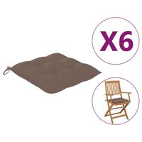 vidaXL Възглавници за градински столове, 6 бр, таупе, 40x40x7 см, плат