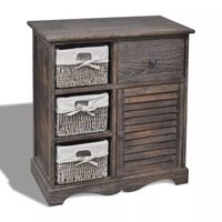 vidaXL Кафяв дървен шкаф с три плетени кошници