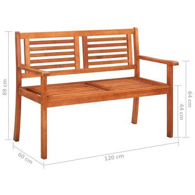 vidaXL 2-местна градинска пейка с възглавница, 120 cм, евкалипт масив