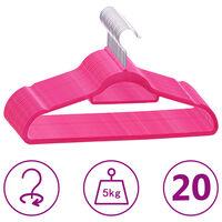 vidaXL 20 бр Комплект закачалки за дрехи антиплъзгащи розово кадифе