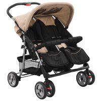 vidaXL Бебешка количка за близнаци, таупе и черно, стомана