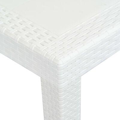 vidaXL Градинска маса, 220x90x72 см, пластмаса, ратанов вид, бяла
