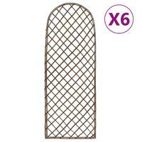 vidaXL Градински перголи, 6 бр, 30x120 см, върба