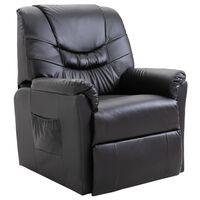 vidaXL Регулируем стол, черен, изкуствена кожа