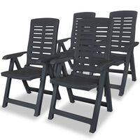 vidaXL Накланящи се градински столове, 4 бр, пластмаса, антрацит