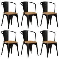 vidaXL Трапезни столове, 6 бр, черни, мангово дърво масив