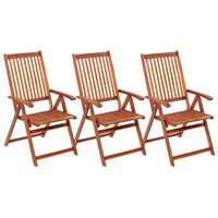 vidaXL Сгъваеми градински столове, 3 бр, акация масив