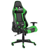 vidaXL Въртящ геймърски стол, зелен, PVC
