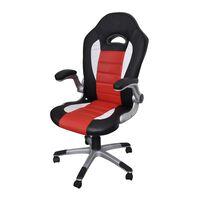 Офис стол от изкуствена кожа с модерен дизайн, червен