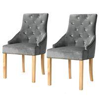 vidaXL Трапезни столове, 2 бр, сребристи, дъб масив и кадифе