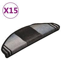 vidaXL Самозалепващи стелки за стъпала, 15 бр, черно-сиви, 65x21x4 см