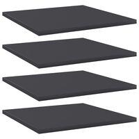 vidaXL Рафтове за етажерка, 4 бр, сиви, 40x40x1,5 см, ПДЧ