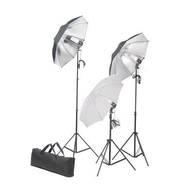 vidaXL Комплект за студийно осветление с 24 W триподи и чадъри