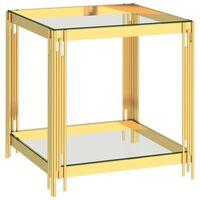 vidaXL Маса за кафе златиста 55x55x55 см неръждаема стомана и стъкло