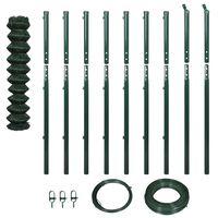 vidaXL Плетена оградна мрежа с колове, 1,97x15 м, зелена