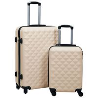 vidaXL Комплект твърди куфари с колелца, 2 бр, златист, ABS