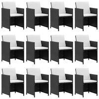vidaXL Градински комплект с възглавници, 13 части, черен полиратан