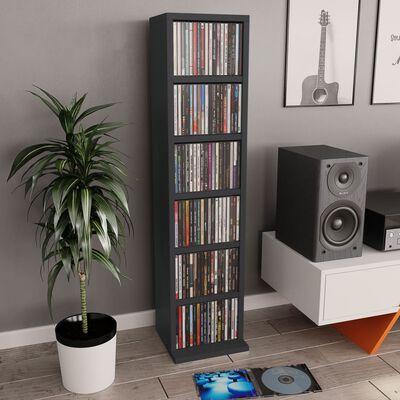 vidaXL CD шкаф, сив, 21x20x88 см, ПДЧ