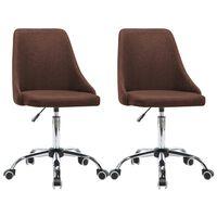 vidaXL Трапезни столове, 2 бр, кафяви, текстил