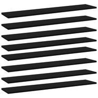 vidaXL Рафтове за етажерка, 8 бр, черни, 100x20x1,5 см, ПДЧ