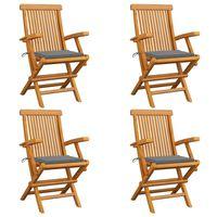 vidaXL Градински столове със сиви възглавници 4 бр тиково дърво масив