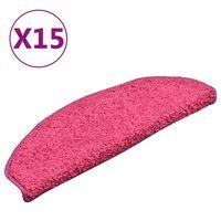 vidaXL Постелки за стъпала, 15 бр, розови, 65x21x4 см