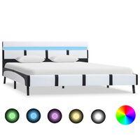 vidaXL Рамка за легло с LED, бяла, изкуствена кожа, 120x200 cм