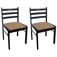 vidaXL Трапезни столове 2 бр кафяви масивно каучуково дърво и кадифе