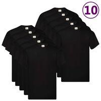 Fruit of the Loom Оригинални тениски, 10 бр, черни, S, памук