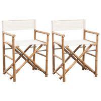 vidaXL Сгъваем режисьорски стол, 2 бр, бамбук и плат