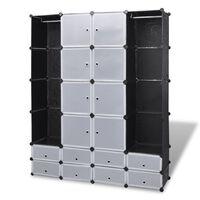vidaXL Модулен гардероб с 18 отделения, черно-бял, 37x146x180,5 см