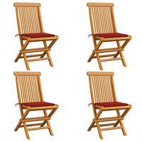 vidaXL Градински столове с червени възглавници 4 бр тиково дърво масив