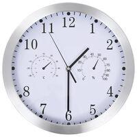vidaXL Стенен часовник с кварц, хигрометър и термометър, 30 см, бял