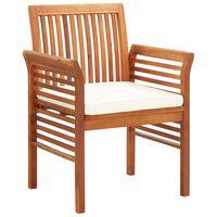 vidaXL Градински трапезни столове с възглавници, 2 бр, акация масив