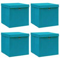 vidaXL Кутии за съхранение с капаци 4 бр бебешко сини 32x32x32 см плат