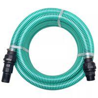 vidaXL Смукателен маркуч със съединители, 4 м, 22 мм, зелен