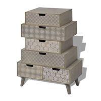 vidaXL Страничен шкаф с 6 чекмеджета, сив