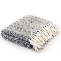 vidaXL Декоративно одеяло, памук, рибена кост, 220x250 см, тъмносиньо