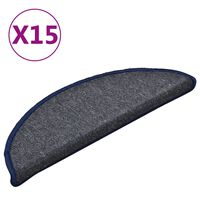 vidaXL Постелки за стъпала, 15 бр, тъмносиво и синьо, 56x17x3 см