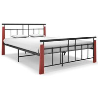 vidaXL Рамка за легло, метал и дъбов масив, 140x200 см