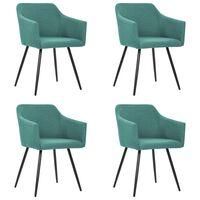 vidaXL Трапезни столове, 4 бр, зелени, текстил