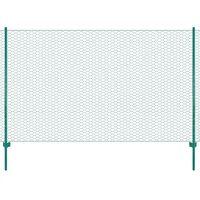 vidaXL Ограда от телена мрежа с колчета, стомана, 25х1,5 м, зелена