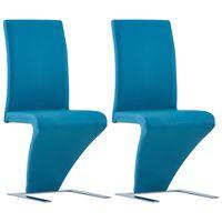 vidaXL Трапезни столове, зигзагообразни, 2 бр, сини, изкуствена кожа