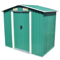 vidaXL Градинска барака за съхранение, зелена, метал, 204x132x186 см