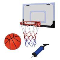 Мини баскетболен кош за закрито в комплект с топка и помпа