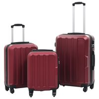 vidaXL Комплект твърди куфари с колелца, 3 бр, виненочервен, ABS