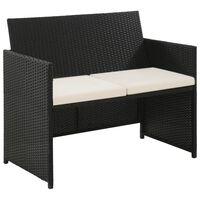 vidaXL 2-местен градински диван с възглавници, черен, полиратан