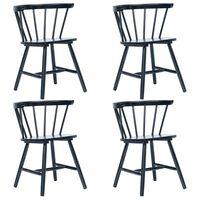 vidaXL Трапезни столове, 4 бр, черни, каучуково дърво масив