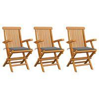vidaXL Градински столове със сиви възглавници 3 бр тиково дърво масив