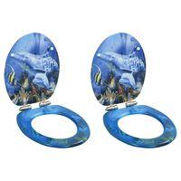 vidaXL Тоалетни седалки с плавно затваряне, 2 бр, МДФ, дизайн делфини